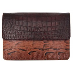 B Grade Mbour L KENZINA Mix Crocodile Python Clutch Brown Polished