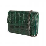 Mbour KENZINA Crocodile Clutch Green Polished