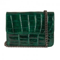 Mbour KENZINA Crocodile Clutch Green Polished