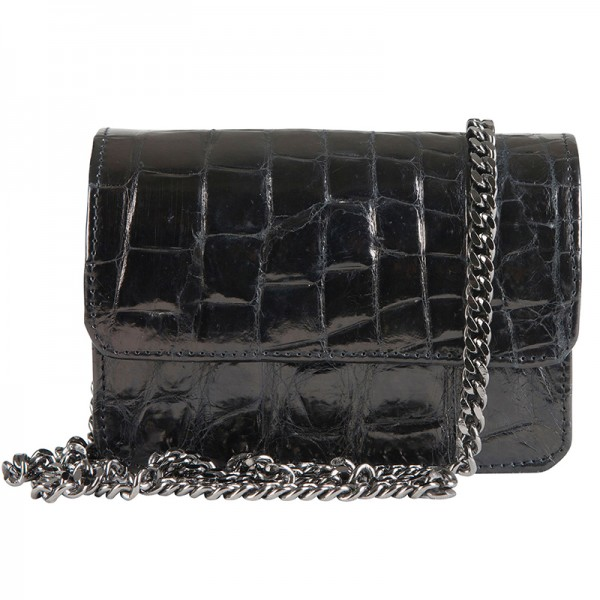 Mbour KENZINA Clutch Crocodile Black Polished