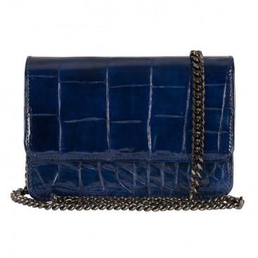 Mbour KENZINA Crocodile Clutch Royal Blue
