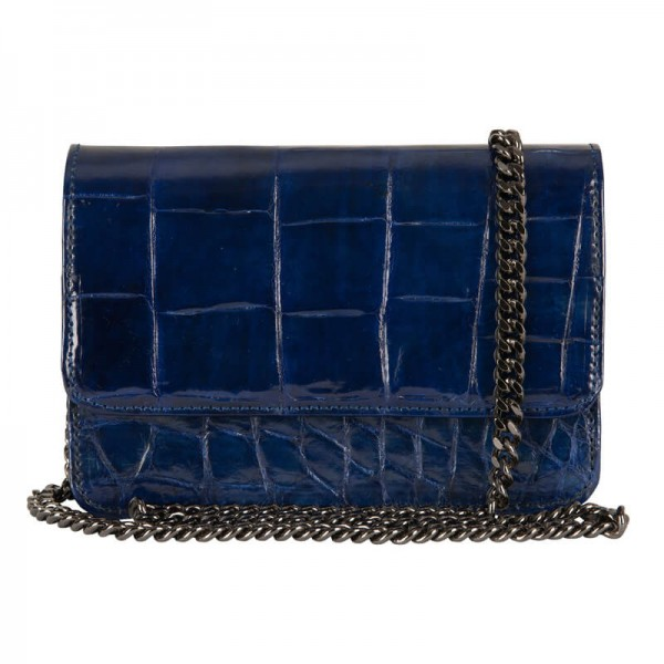 Mbour KENZINA Crocodile Clutch Royal Blue