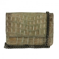 Mbour KENZINA Crocodile Clutch Grey Polished