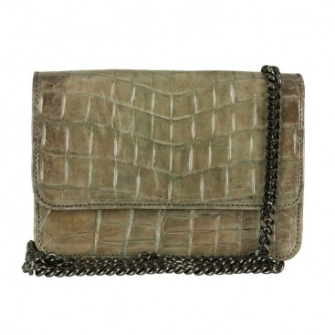 Mbour KENZINA Crocodile Clutch Grey Polished