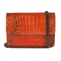 Mbour KENZINA Crocodile Clutch Orange