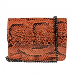 Mbour KENZINA Python Clutch Orange Polished