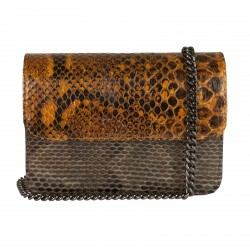 Mbour KENZINA Python Clutch Yellow Brown Pink